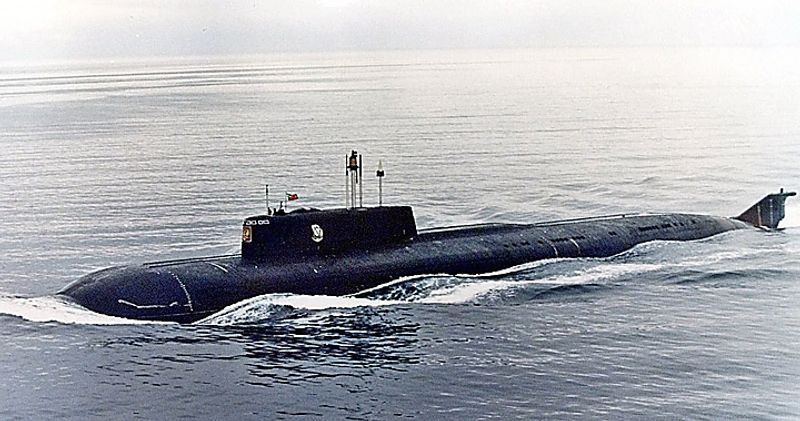 A1999  photo shows the Russian nuclear submarine  Kursk in the Barents Sea near Severomorsk,Russia.  The Kursk, one of the biggest and newest submarines in the Russian navy,  is trapped at a depth of 354 feet, above the Arctic Circle in the Barents Sea, and rescue attempts continue Tuesday August 15, 2000.  (AP Photo)