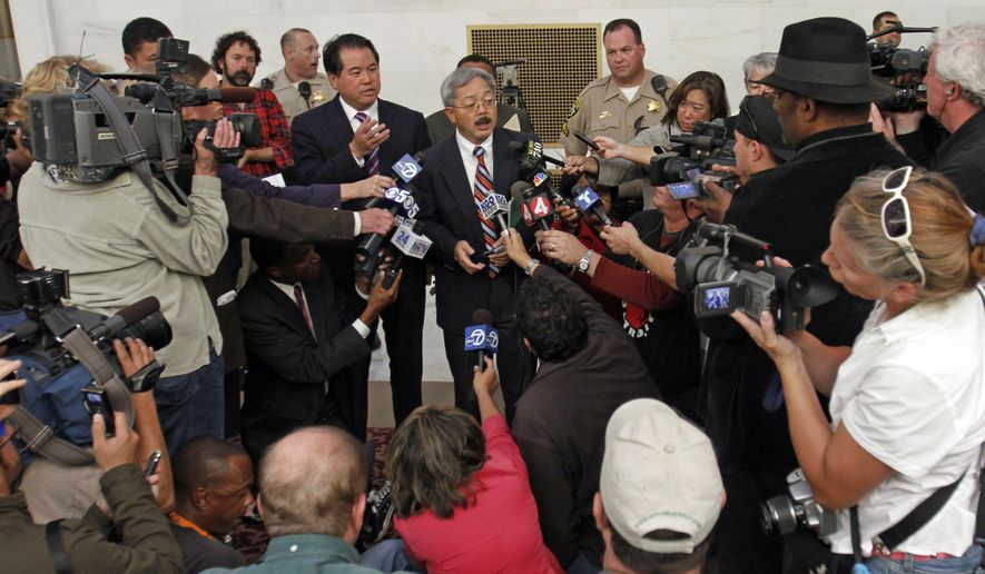 Media crowd for position during a conference held by Phil Ting, center left, the assessor-recorder for the City and County of San Francisco, and City Administrator Ed Lee, who announced that gay marriages would be put on hold at least for another six days on Thursday, Aug. 12, 2010, outside City Hall in San Francisco. (AP Photo/Ben Margot)