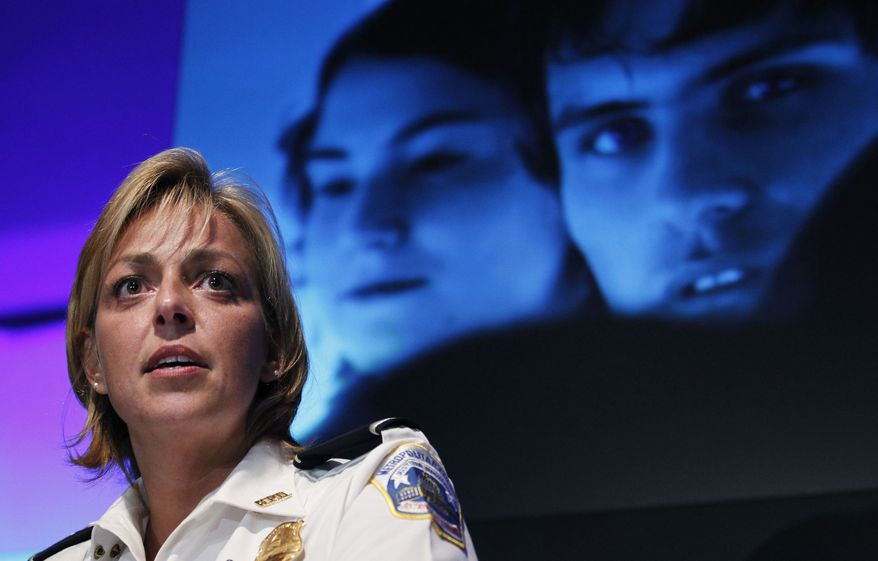 ** FILE ** Washington Police Chief Cathy Lanier speaks during a news conference in Washington on Tuesday, Aug. 3, 2010, on the launching of a series of community-based initiatives in conjunction with National Night Out. (AP Photo/Manuel Balce Ceneta)