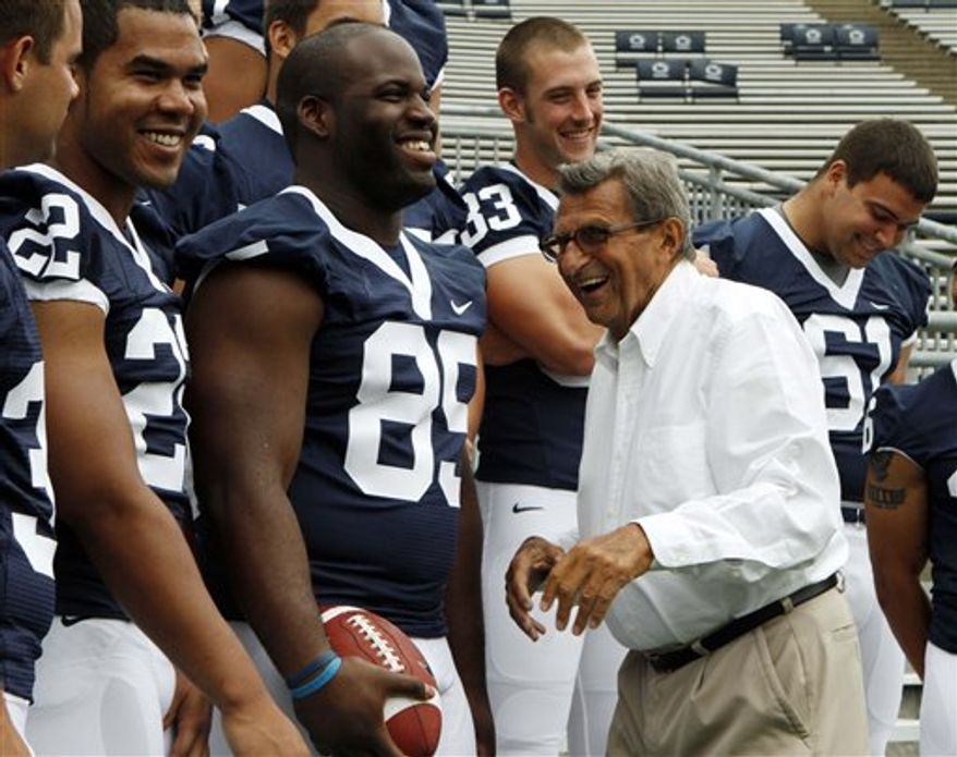 Penn State coach Joe Paterno answers questions during football media day in State College, Pa., Thursday, Aug. 12, 2010. Paterno is heading into his 45th season as head coach of Penn State. (AP Photo/Gene J. Puskar)