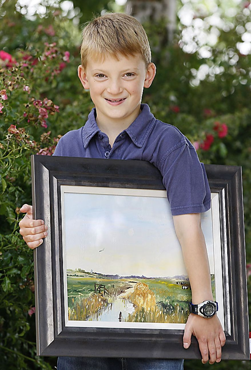 In this Thursday, Aug. 12, 2010 Kieron Williamson, an eight-year-old painting prodigy holds one of his paintings in Holt, Norfolk in England. He's Britain's most talked-about young artist. His paintings sell for thousands of dollars and there's a long waiting list for his eagerly anticipated new works. (AP Photo/Kirsty Wigglesworth)
