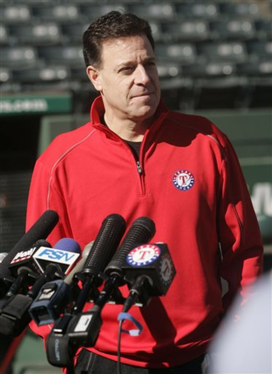This Aug. 5, 2010, file photo shows Texas Rangers president Nolan Ryan arriving for a news conference in Arlington, Texas.  (AP Photo/LM Otero)