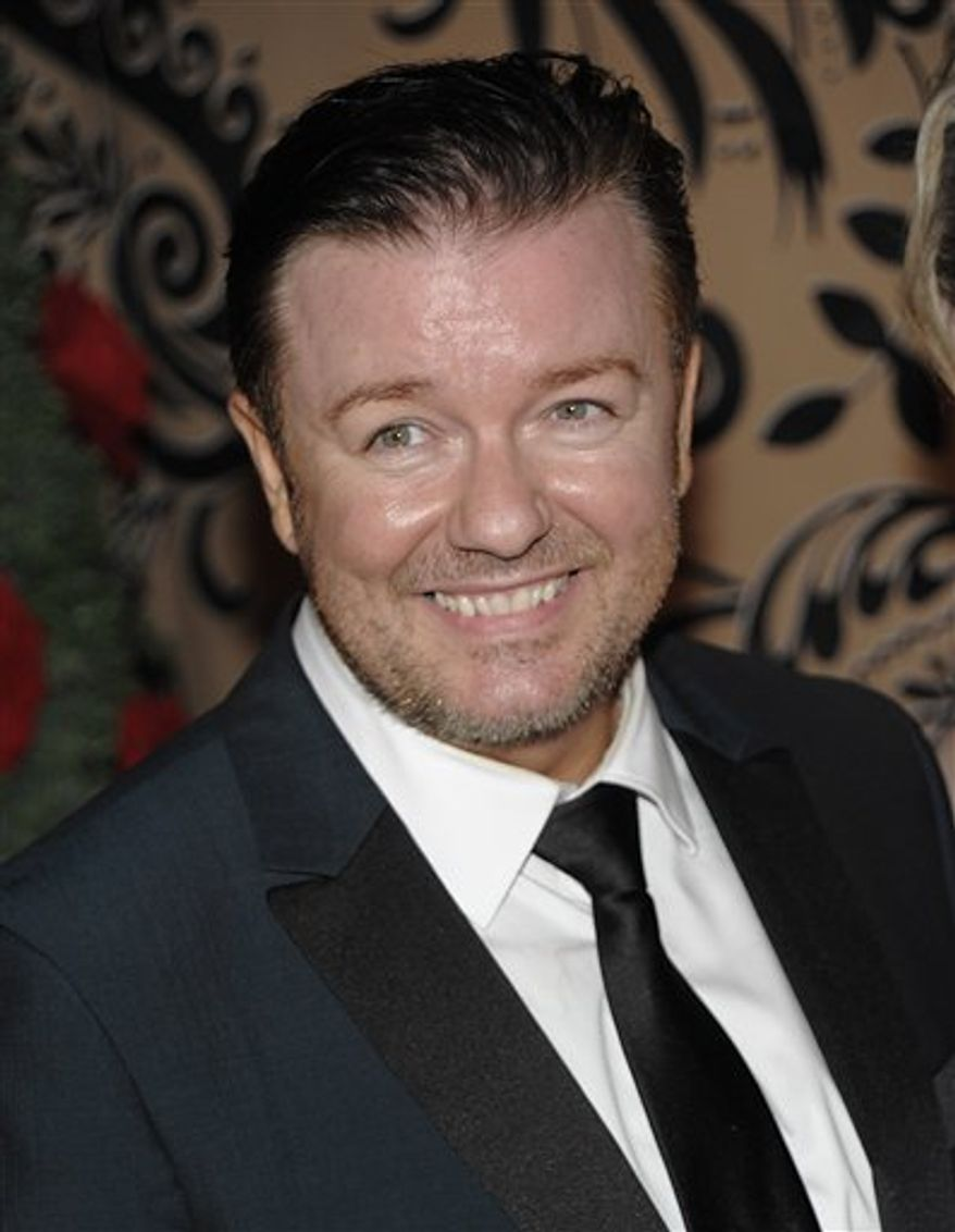 FILE - In this Sept. 20, 2009 file photo, actor Ricky Gervais arrives at the HBO Emmy Party in West Hollywood, Calif. (AP Photo/Dan Steinberg, file)