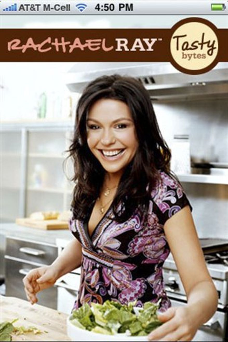 "This image made available on Wednesday, Aug. 11, 2010,  by Rachael Ray Digital shows the Rachael Ray application.  Rachael Ray, best-selling cookbook author and TV personality, has a new iPhone application, ""Tasty Bytes,"" that combines recipes and cooking tips with a shopping tool aimed at getting you down the aisles faster.    (AP Photo/ Rachael Ray Digital  ) NO SALES"