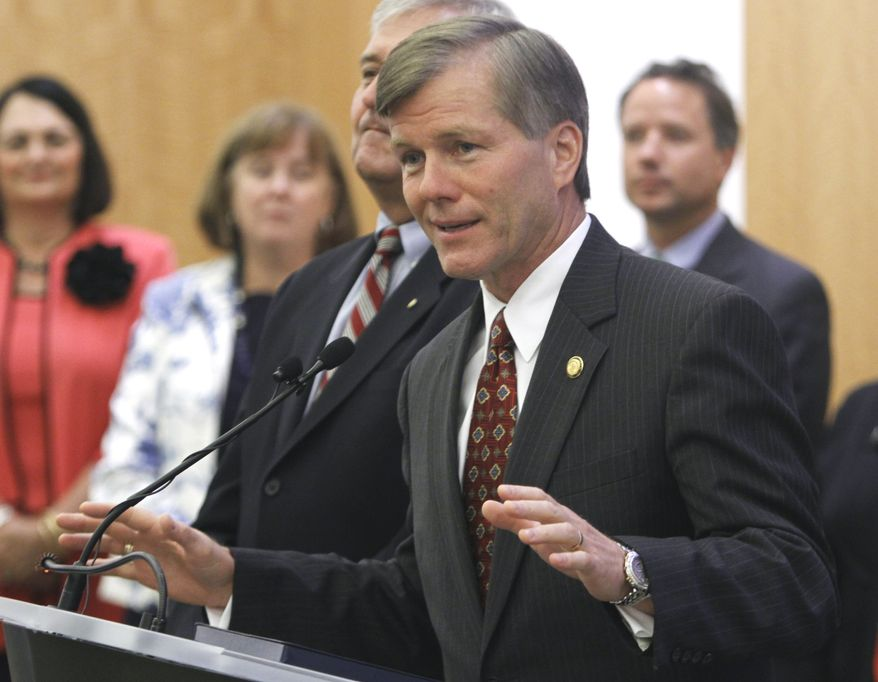 ASSOCIATED PRESS Virginia Gov. Bob McDonnell gestures during a press conference at the Capitol in Richmond, Va., Monday, Aug. 16, 2010.