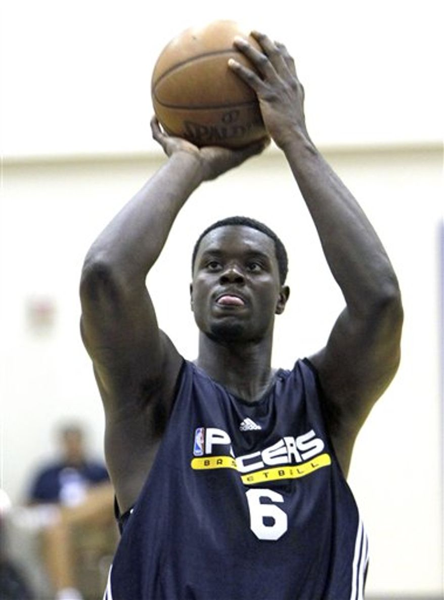FILE - This July 5, 2010, file photo shows Indiana Pacers' Lance Stephenson during the second half of an NBA summer league basketball game against the Orlando Magic,  in Orlando, Fla. Pacers draft pick Lance Stephenson has been arrested in his native New York City, accused of assaulting his girlfriend. Police say Stephenson was taken into custody Sunday, Aug. 15, 2010,  following a 5 a.m. fight with the woman in Brooklyn. (AP Photo/John Raoux, File)