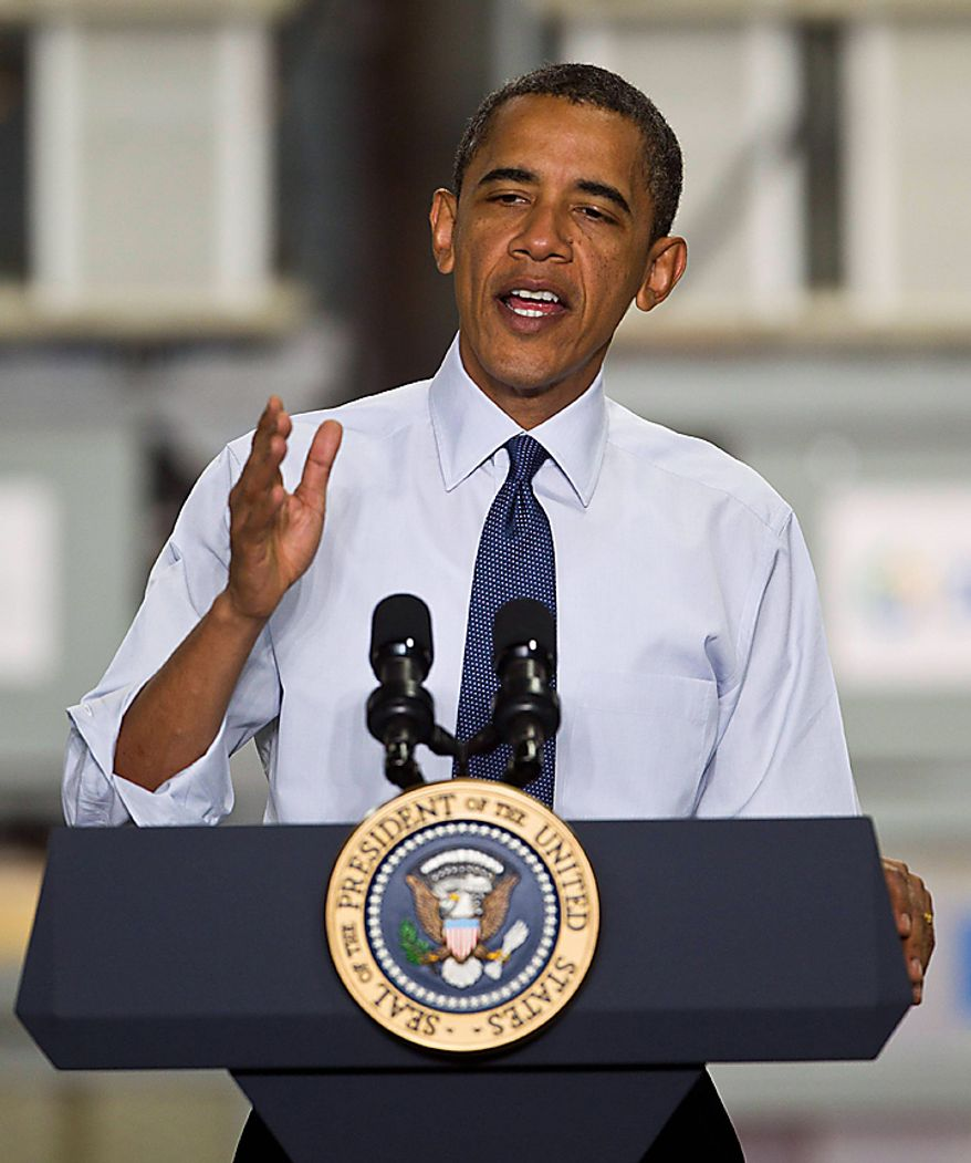 President Obama speaks during an event, Monday, Aug. 16, 2010, at ZBB Energy Corporation in Menomonee Falls, Wis. (AP Photo/Morry Gash)