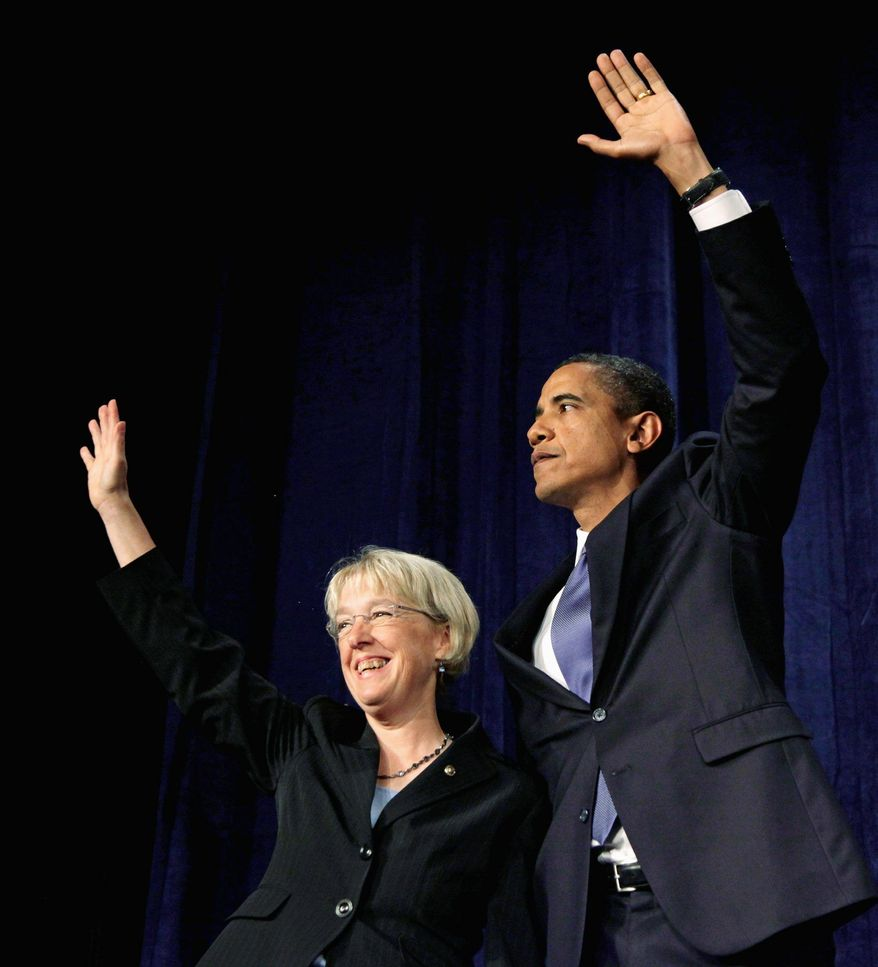 President Obama stands with Sen. Patty Murray, Washington Democrat, during a fundraiser Tuesday in Seattle.