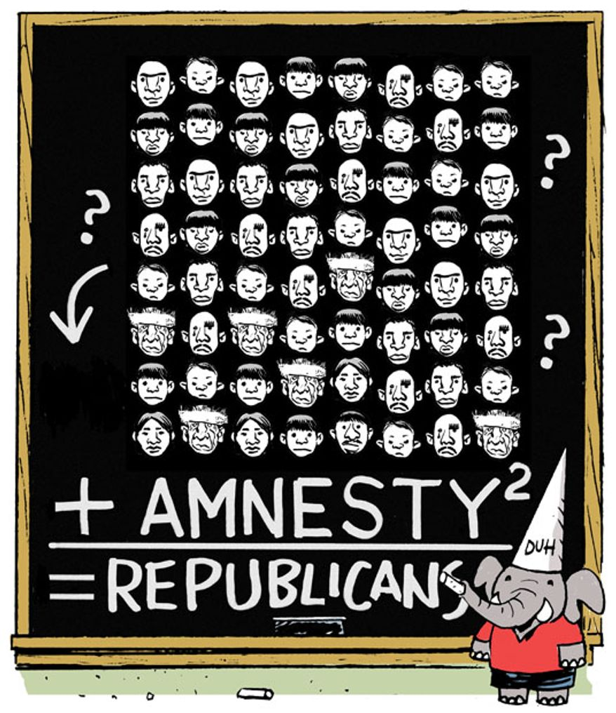Illustration: Immigration by Alexander Hunter for The Washington Times