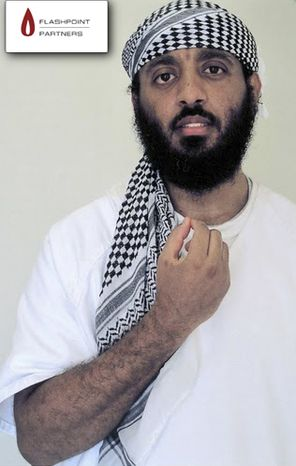 In this undated photo provided by global security research and analysis enterprise Flashpoint Partners, a man who Flashpoint has identified as confessed 9/11 architect Ramzi Binalshibh is shown. Binalshibh is being held pending trial at a U.S. military facility in Guantanamo Bay, Cuba. (AP Photo/Flashpoint Partners)