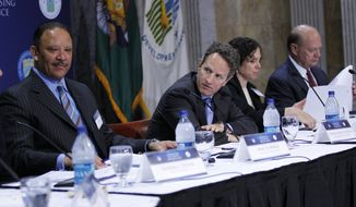 Treasury Secretary Timothy Geithner, second from left, hosts a Conference on the Future of Housing Finance, Tuesday, Aug. 17, 2010, at the Treasury Department in Washington. From left are, National Urban League President and CEO Marc Morial, Geithner, Ingrid Gould Ellen of New York University, and Alex Pollock of the American Enterprise Institute. (AP Photo/Pablo Martinez Monsivais)