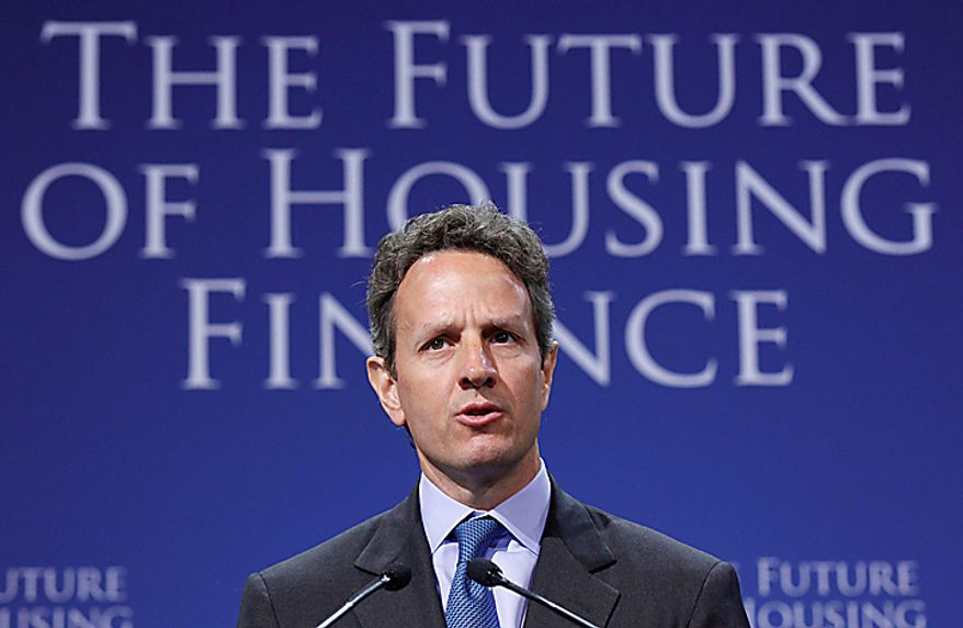 Treasury Secretary Timothy Geithner addresses the Conference on the Future of Housing Finance, Tuesday, Aug. 17, 2010, at the Treasury Department in Washington. (AP Photo/Pablo Martinez Monsivais)