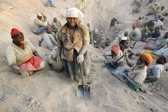"""Marange miners work in conditions that Human Rights Watch calls """"quite appalling,"""" despite the Zimbabwean government's pledge to meet international standards. (Associated Press)"""