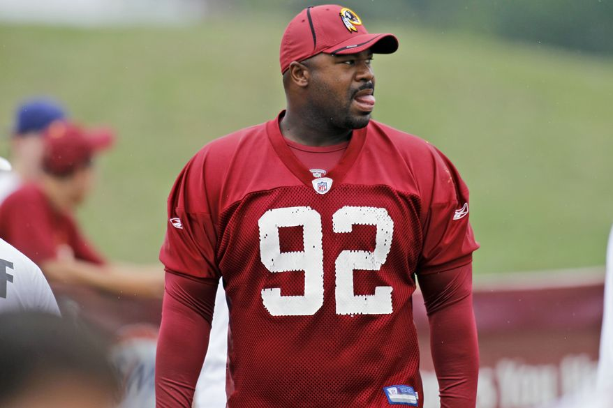 ASSOCIATED PRESS Washington Redskins defnsive lineman Albert Haynesworth walks to the start of NFL football training camp at Redskins Park in Ashburn, Va. Wednesday, Aug. 18, 2010.