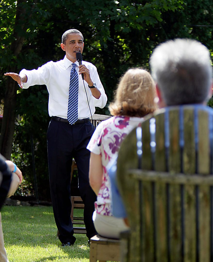 President Barack Obama gestures while talking about the economy, Wednesday, Aug. 18, 2010, in Columbus, Ohio. (AP Photo/Carolyn Kaster)
