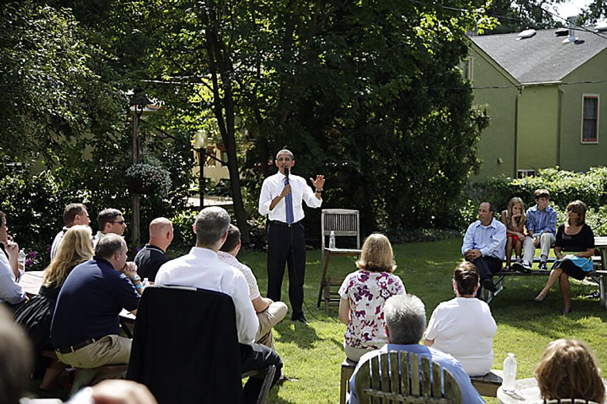 President Barack Obama talks about the economy, Wednesday, Aug. 18, 2010, in Columbus, Ohio. (AP Photo/Carolyn Kaster)
