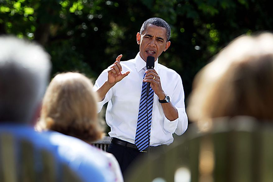 President Barack Obama gestures while talking about the economy, Wednesday, Aug. 18, 2010, in Columbus, Ohio. (AP Photo/Carolyn Kaster)