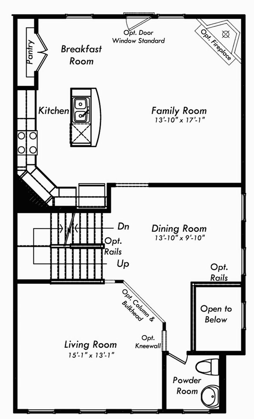 The Astoria has an open family room, center-island kitchen and breakfast area on the main level. Upstairs, the master bedroom has two walk-in closets and a bath with a shower. Two more bedrooms share a second bath.