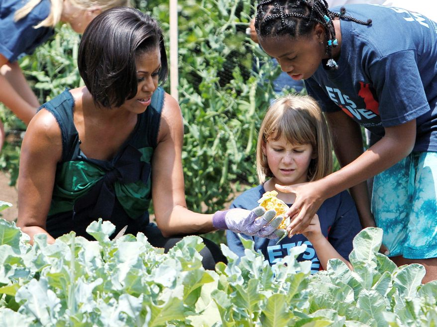 ASSOCIATED PRESS First lady Michelle Obama harvests vegetables in the White House garden on the South Lawn in June with the help of children from Hollin Meadows Elementary School in Alexandria, Va. Mrs. Obama launched a campaign against childhood obesity.