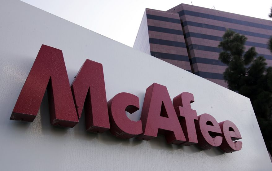 This file photograph taken Oct. 30, 2007, shows the exterior of security software maker McAfee Inc. headquarters in Santa Clara, Calif. Chip maker Intel said Thursday, Aug. 19, 2010, it has agreed to buy computer-security software maker McAfee Inc. for $7.68 billion, or $48 per share. (AP Photo/Paul Sakuma, file)