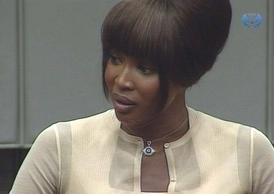 "In this Aug. 5, 2010, file photo made from television, Naomi Campbell is seen at the U.N.-backed Special Court for Sierra Leone in Leidschendam, Netherlands. Jeremy Ractliffe, former head of the Nelson Mandela Children's Fund, announced Wednesday. Aug. 18, 2010, that he was stepping down from the charity's board after he acknowledged that he secretly possessed purported ""blood diamonds"" for more than a decade. His possession of the diamonds came to light earlier this month when Ms. Campbell testified she gave them to Mr. Ractliffe in 1997, after receiving them from three men who came to her hotel room after she attended a 1997 Children's Fund charity event also attended by then-Liberian President Charles Taylor. (AP Photo/Special Court for Sierra Leone via APTN, File)"