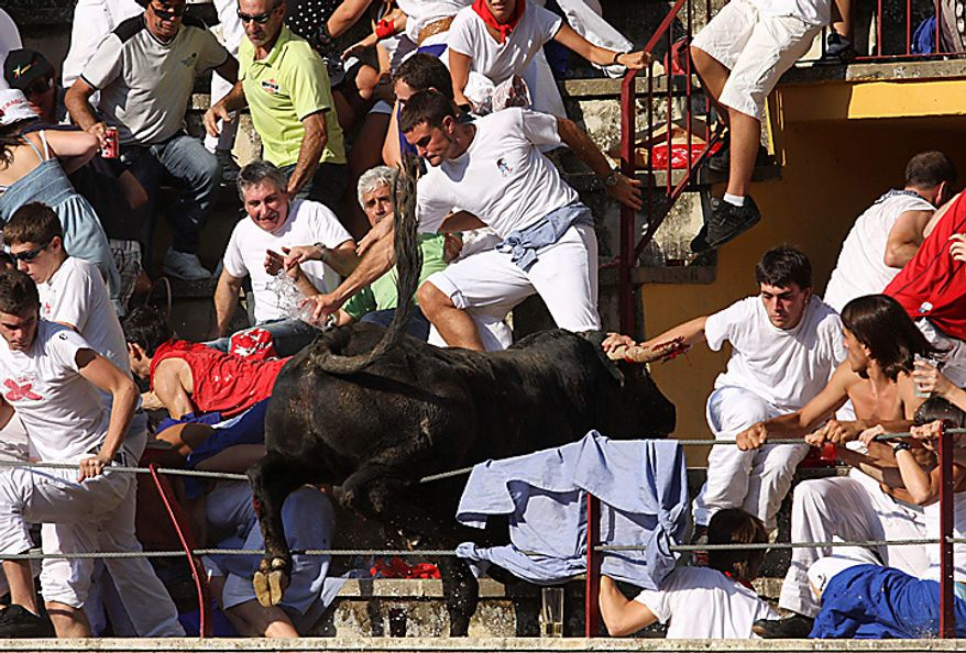 In this Wednesday, Aug. 18, 2010 picture made available Thursday, Aug 19. 2010 a bull leaps into the stands during a bullfight in Tafalla, northern Spain. Up to forty people were injured when a bull leapt into the packed grandstands of a Spanish bullring and ran amok, charging and trampling on spectators. (AP Photo/Manuel Sagues)