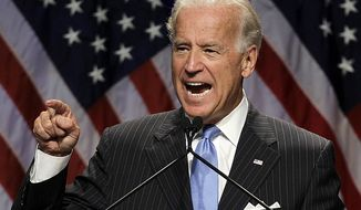 Vice President Joe Biden gestures while addressing the summer meeting for the Democratic National Committee, Friday, Aug. 20, 2010, in St. Louis. (AP Photo/Jeff Roberson)