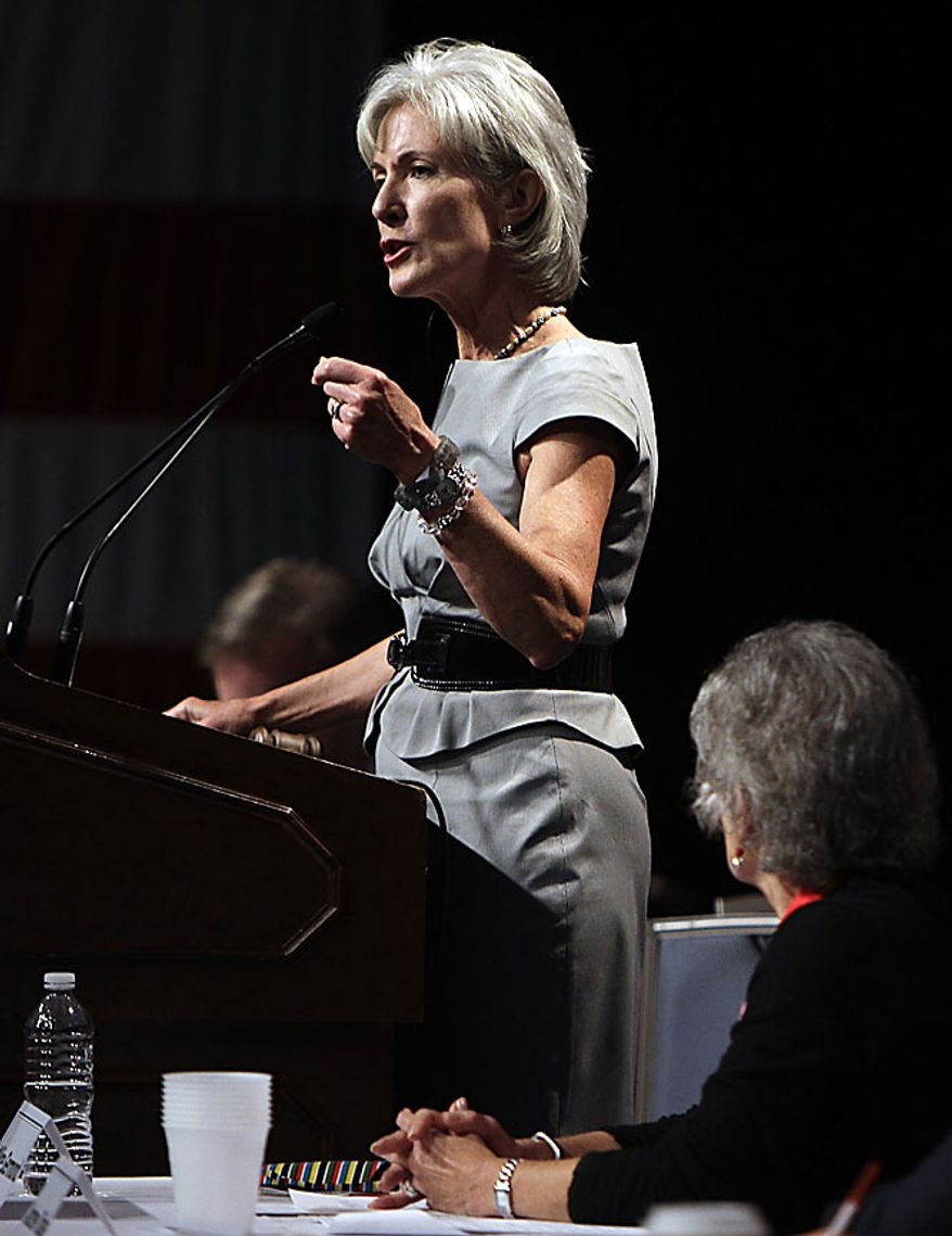 Health and Human Services Secretary Kathleen Sebelius speaks during the summer meeting of the Democratic National Committee, Friday, Aug. 20, 2010, in St. Louis. (AP Photo/Jeff Roberson)