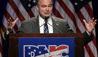 Democratic National Committee Chairman Tim Kaine speaks during the DNC's summer meeting, Friday, Aug. 20, 2010, in St. Louis. (AP Photo/Jeff Roberson)