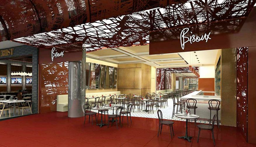 An artist's rendering shows Bisoux, one of the restaurants set to open in the Delta Air Lines terminal at LaGuardia Airport. With travelers waiting longer, more airports are installing sit-down restaurants. (ICrave via Associated Press)