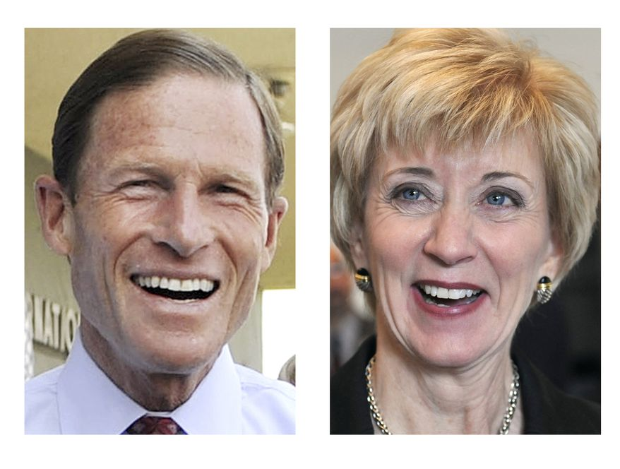 Connecticut Attorney General Richard Blumenthal, a Democrat, and former World Wrestling Entertainment CEO Linda McMahon, a Republican, are vying for the seat being vacated by Sen. Christopher J. Dodd. (AP Photo/Jessica Hill)