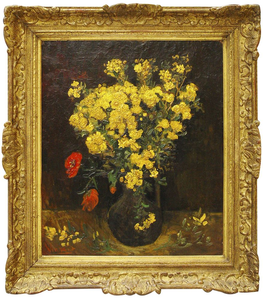 """This undated photo made available Sunday, Aug. 22, 2010, shows a Vincent van Gogh painting known by the titles of """"Poppy Flowers"""" and """"Vase with Flowers,"""" which was stolen on Saturday from the Mahmoud Khalil Museum in Cairo, Egypt. (AP Photo)"""