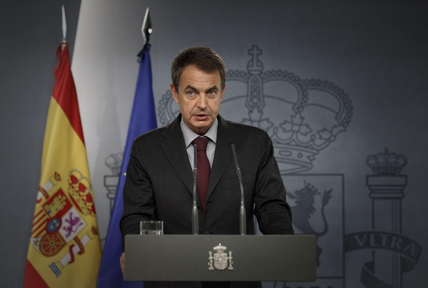 ** FILE ** Spain's Prime Minister Jose Luis Rodriguez Zapatero talks during a brief press conference in Madrid, on Monday, Aug. 22, 2010.  (AP Photo/Daniel Ochoa de Olza)