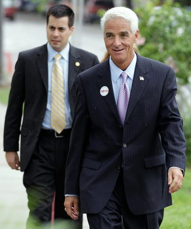 Associated Press Florida Gov. Charlie Crist (right), a former Republican, had $8 million in his campaign coffers for his independent bid for Senate as of Aug. 4, nearly double that of his GOP rival.