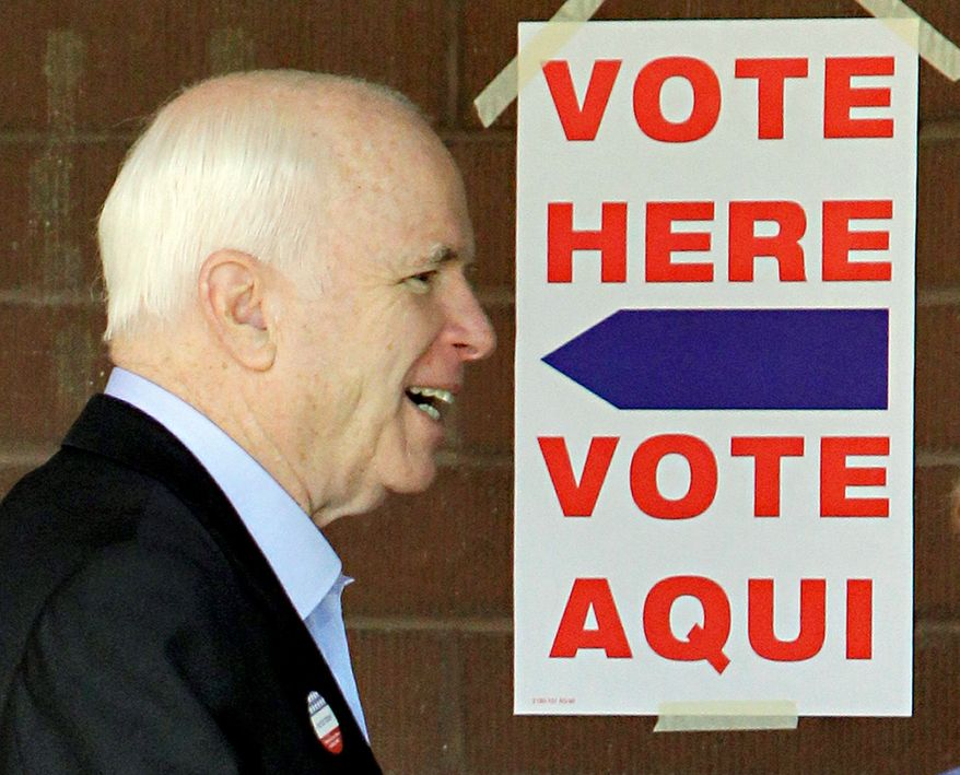 TAKING THE FIFTH? Sen. John McCain, Arizona Republican, leaves the polling station Tuesday in Phoenix after casting his vote in the Arizona primary election in his bid for a fifth term.