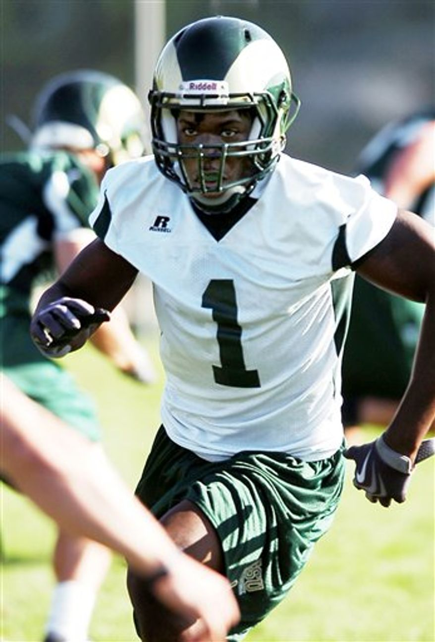 Colorado State University linebacker, Mike Orakpo, 1, rushes the passer during CSU fall football practice Friday Aug. 6, 2010.(AP Photo/V. Richard Haro, Fort Collins Coloradoan)