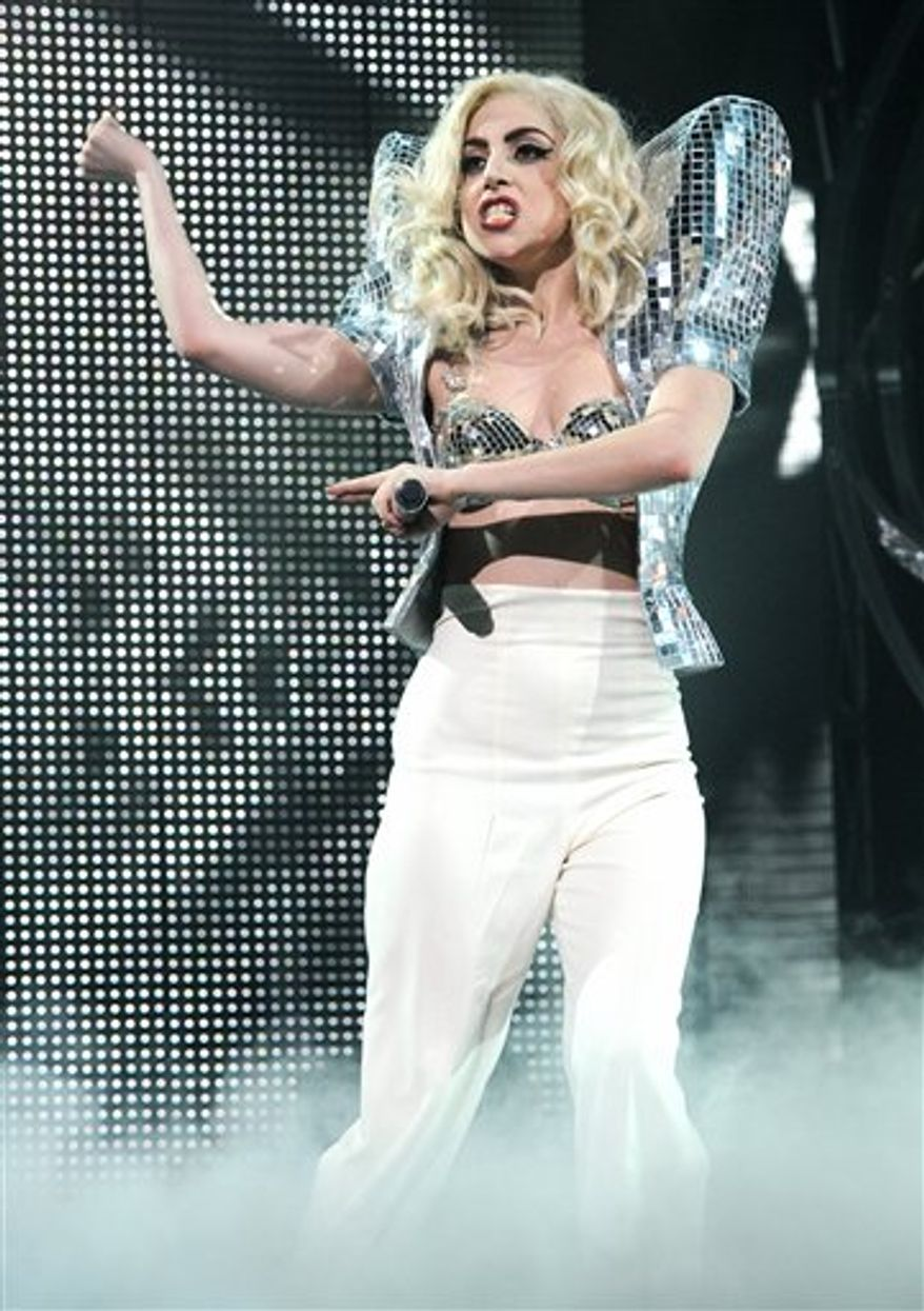 FILE - In this Jan. 20, 2010 file photo, singer Lady Gaga performs in concert at Radio City Music Hall in New York. (AP Photo/Evan Agostini, file)