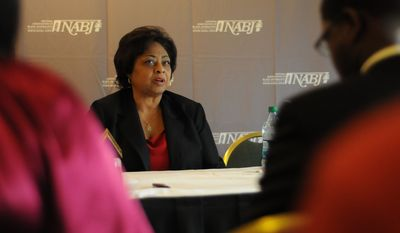 In this picture provided by the National Association of Black Journalists, Shirley Sherrod speaks to student members at the NABJ Convention in San Diego, Calif., on Thursday, July 29, 2010. (AP Photo/National Association of Black Journalists, Eric Burse)
