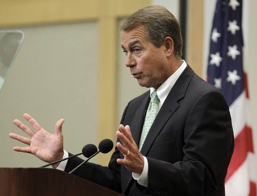 House Minority Leader John Boehner, Ohio Republican, speaks on jobs and the economy at the City Club of Cleveland Tuesday, Aug. 24, 2010. (AP Photo/Mark Duncan)