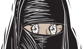 Illustration: Burqa by Linas Garsys for The Washington Times