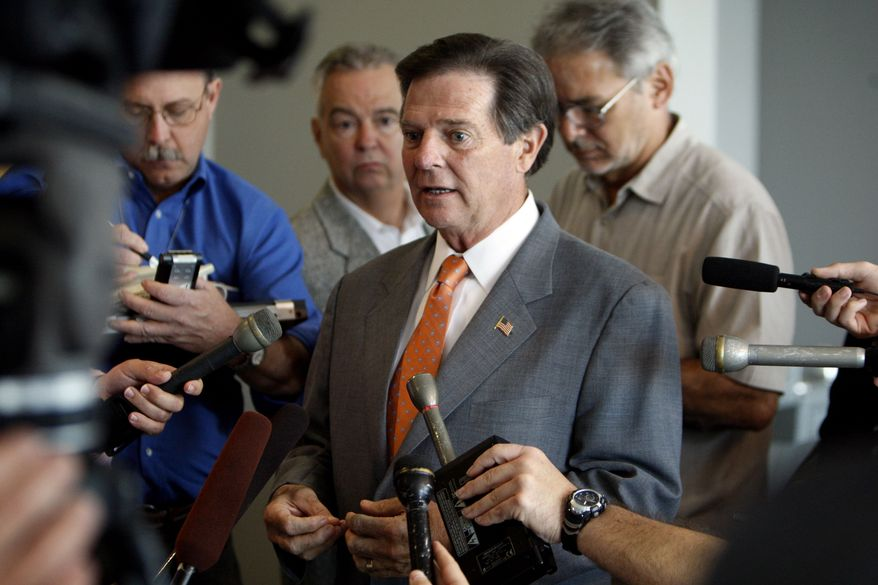 Former U.S. House Majority Leader Tom DeLay speaks to media during a break at his pre-trial hearing at the Blackwell-Thurman Criminal Justice Center in Austin, Texas, Tuesday, Aug. 24, 2010. Mr. DeLay will get his long-awaited trial on a money laundering indictment ahead of two co-defendants, who now face lesser charges, a judge said Tuesday. (AP Photo/Austin American-Statesman, Ricardo B. Brazziell)