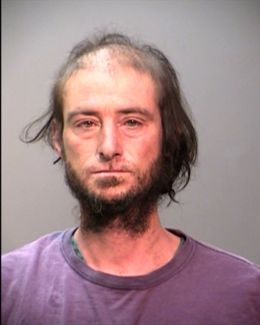 John David Thiry, a homeless man, has been arrested and is facing charges related to a wildfire that destroyed 11 houses in Ashland, Ore. (AP Photo/Jackson County [Ore.] Sheriff's Department)