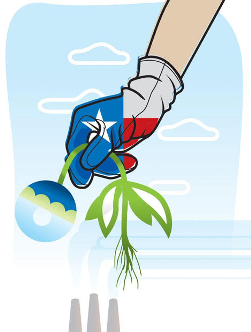 Illustration: Texas and the EPA by Linas Garsys for The Washington Times