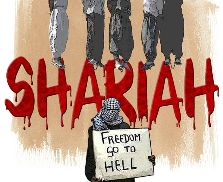 Illustration: Shariah by Greg Groesch for The Washington Times