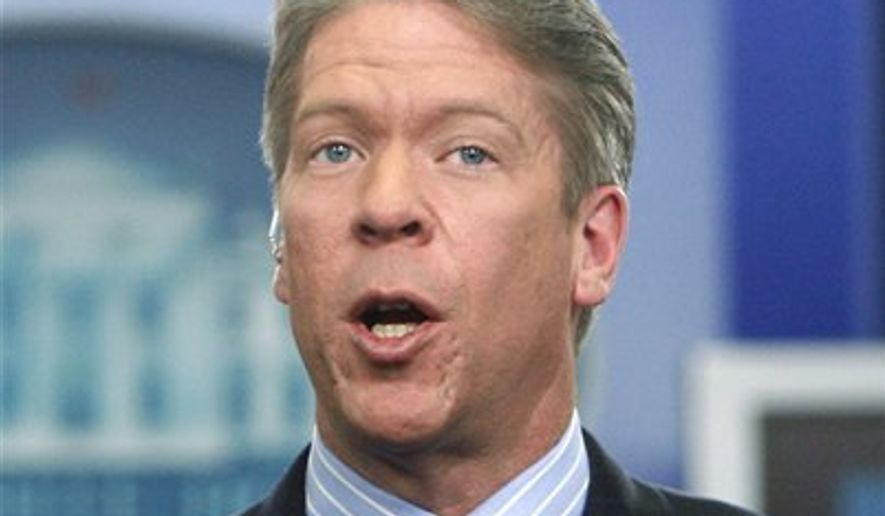 In this Feb. 26, 2010 file photo, Major Garrett, then-chief White House correspondent for the FOX News Channel, is pictured in the James Brady Press Briefing Room at the White House in Washington. Mr. Garrett, now with CBS, is on a name of potentially agreeable debate moderators submitted by the Trump reelection campaign (AP Photo/Charles Dharapak, file)  **FILE**