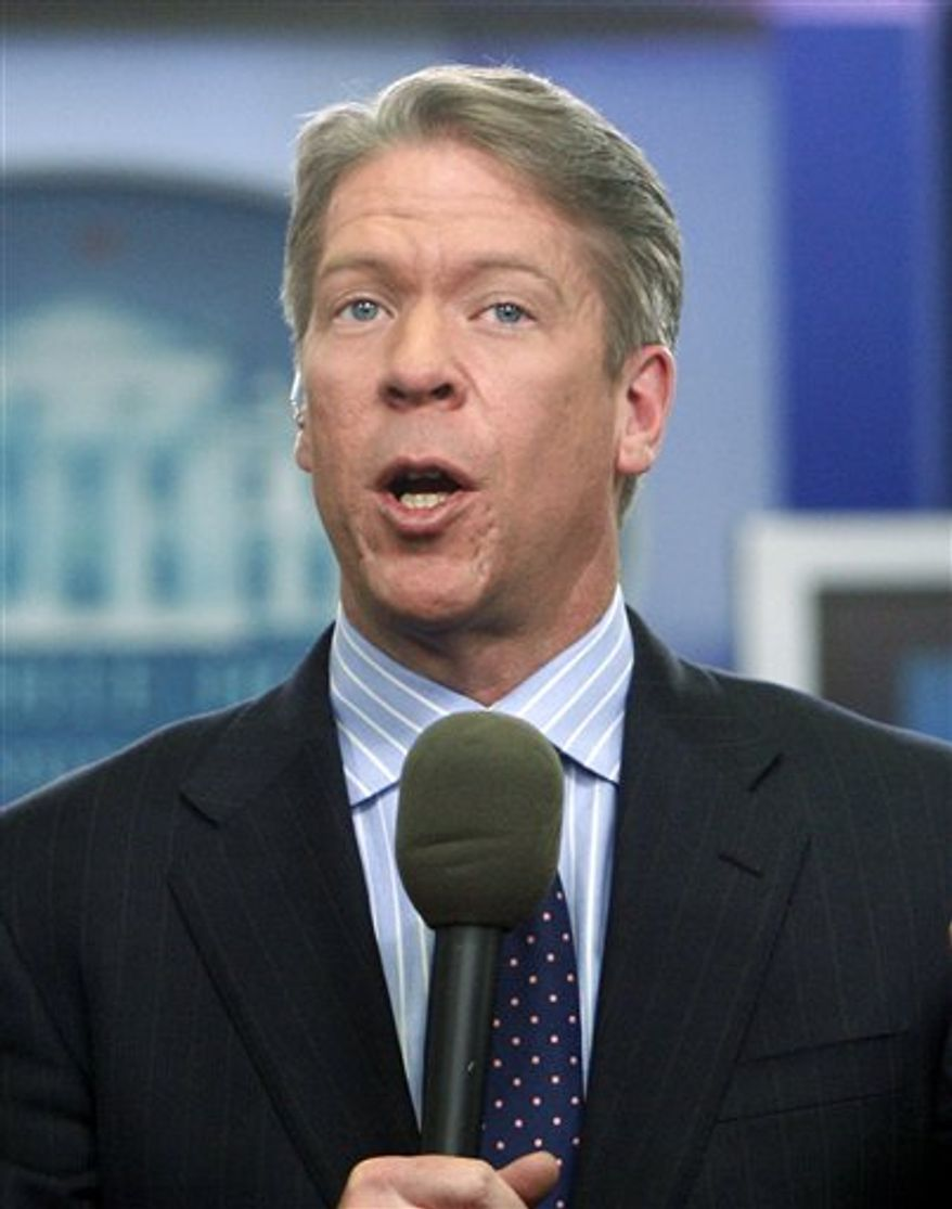FILE - In this Feb. 26, 2010 file photo, Major Garrett, chief White House correspondent for the FOX News Channel, is pictured in the James Brady Press Briefing Room at the White House in Washington. (AP Photo/Charles Dharapak, file)