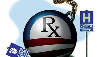 Illustration: Obama's hospital impact by Alexander Hunter for The Washington Times