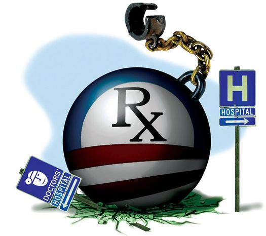 Illustration: Obama's hospital impact by Alexander Hunter for The Washington Times