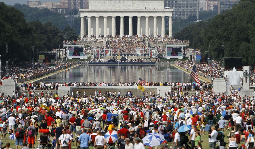 "The crowd attending the ""Restoring Honor"" rally, organized by Glenn Beck, is seen from the base of the Washington Monument in Washington, on Saturday, Aug. 28, 2010. (AP Photo/Jacquelyn Martin)"