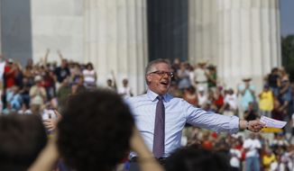 Glenn Beck speaks at his 'Restoring Honor' rally in front of the Lincoln Memorial in Washington on Saturday, Aug. 28, 2010. (AP Photo/Alex Brandon)